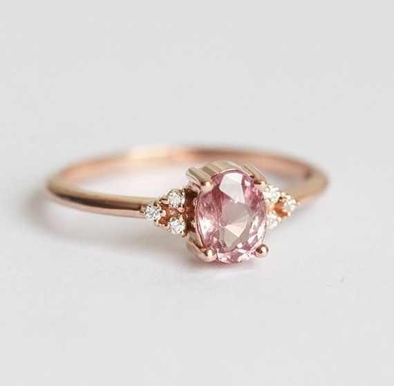 Oval Pink Peach Sapphire Ring, Rose Gold Diamond Sapphire Ring, 14k 18k Rose Gold Diamond ring With Pink Sapphire