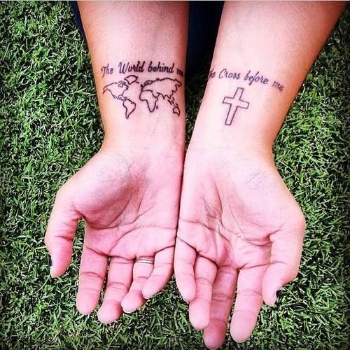 """I fell away from Christ, and after falling away I was miserable, empty,andit took a few years to come back Him and His truth. Butnow, here I am. This tattoo is a lyricfrom """"Christ is Enough"""" (yes I know I got it tatted reversed) butthat song rings true in my heart. Specifically, this line. I am saved because of God's grace, and I die to myself daily becauseHe is good, and there's nothing else Isee but the cross andthe sacrifice Christ made through love and ..."""
