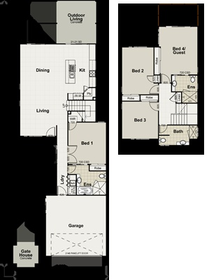 Kitchen/Living with stairs behind