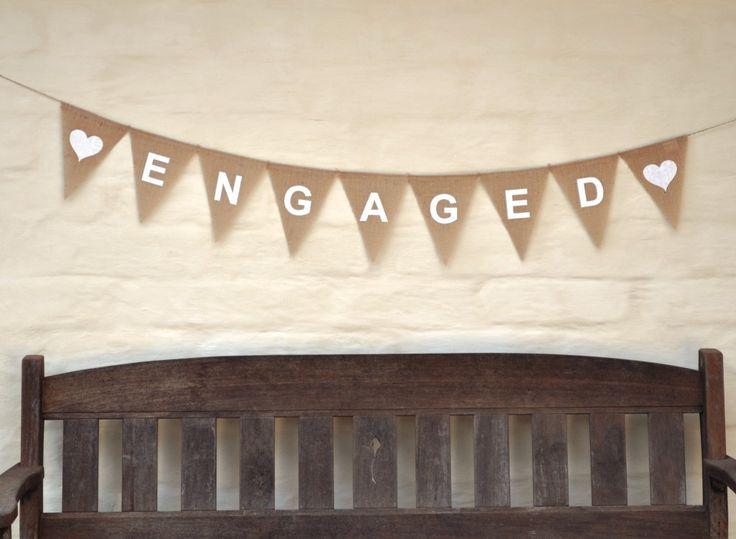 ENGAGED Hessian Burlap Wedding Celebration Engagement Party Banner hearts white text. $30.00, via Etsy.