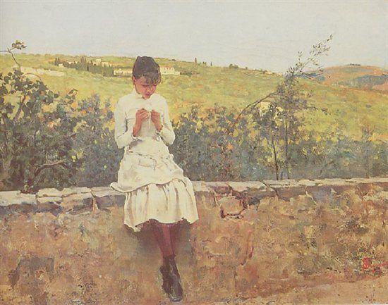 Telemaco Signorini - MACCHIAIOLO - The Macchiaioli found inspiration also in the paintings of their French contemporaries of the Barbizon school.