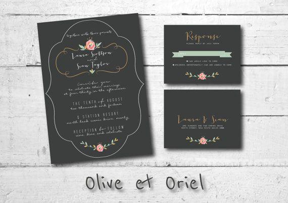 Vintage Bronze Wedding Invitation Set: Including Formal Invitation and two sided RSVP Card Design by OliveEtOriel, $14.00 #chalkboard #wedding #invitation #vintage #floral