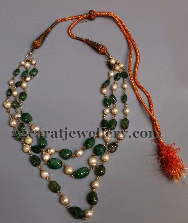 Jewellery Designs: Emerald South Pearls Multi Strings Set