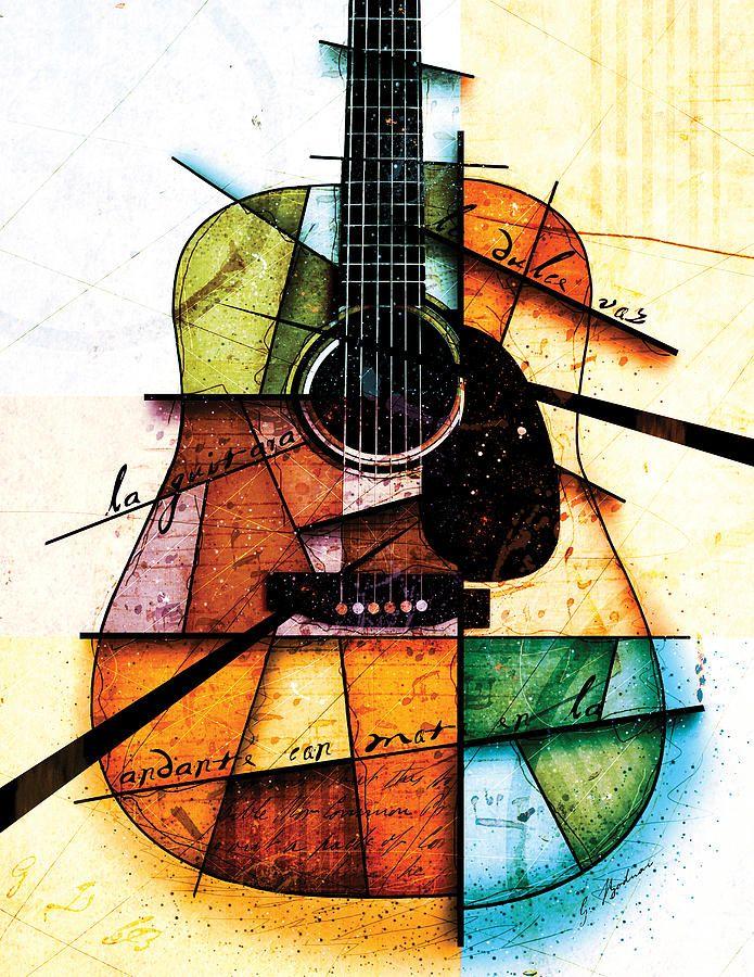 Image Result For Artistic Acoustic Guitar Guitar Artwork Music Art Painting Colorful Art
