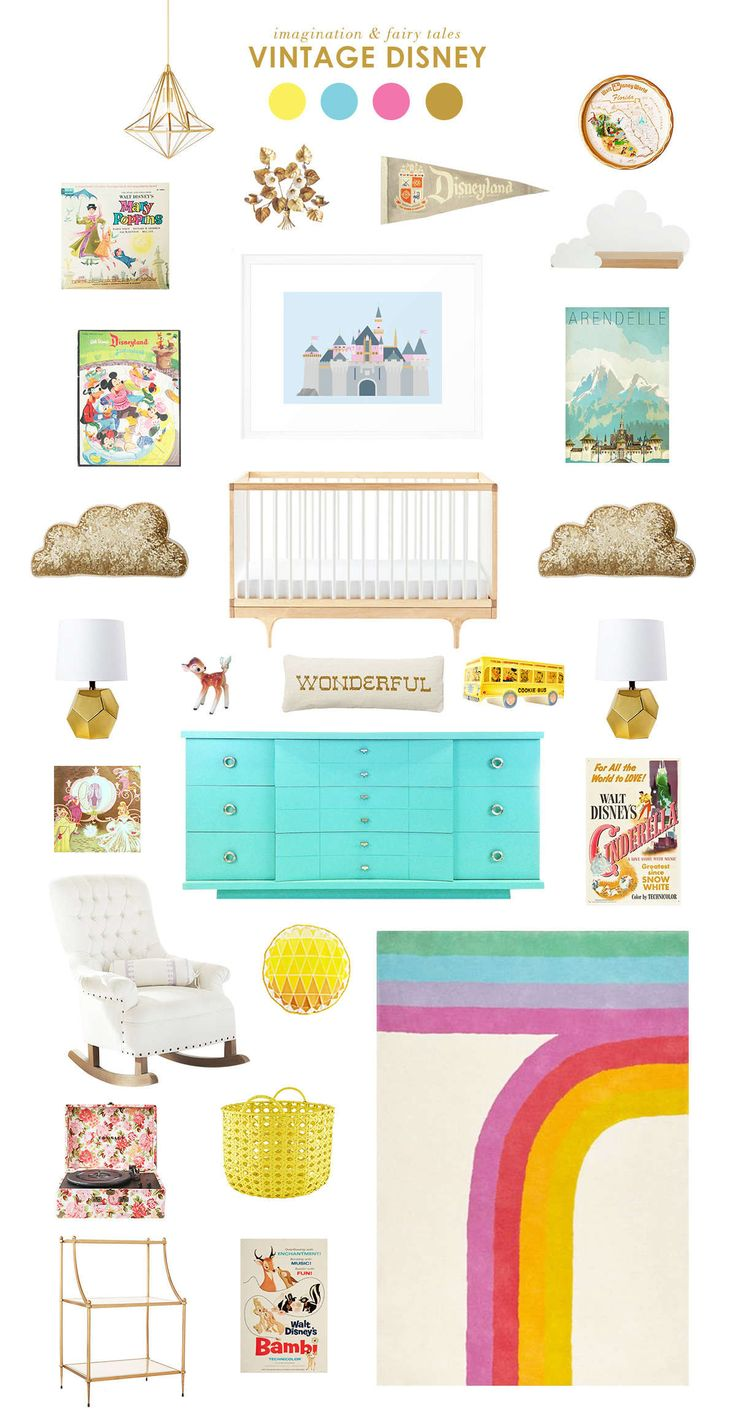 "ideas for a ""vintage disney"" themed nursery"