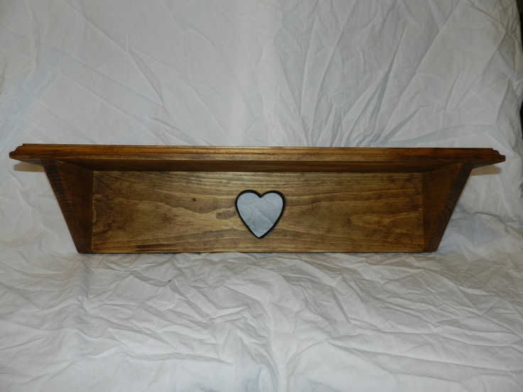 "Custom made 3/4"" Pine Country Primitive shelf with heart stained in ..."