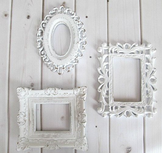picture frames vintage ornate white baroque set of 3 frames wedding frames baby nursery - White Vintage Picture Frames