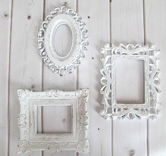 picture frames vintage ornate white baroque set of 3 frames wedding frames baby nursery decor