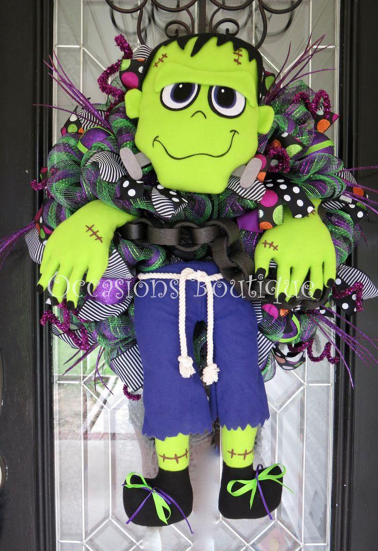 Halloween Wreath, Frankenstein Wreath, Halloween Decoration, Fall Wreath, Door Wreath, Front door wreath, Halloween Party, Only 1 Available by OccasionsBoutique on Etsy