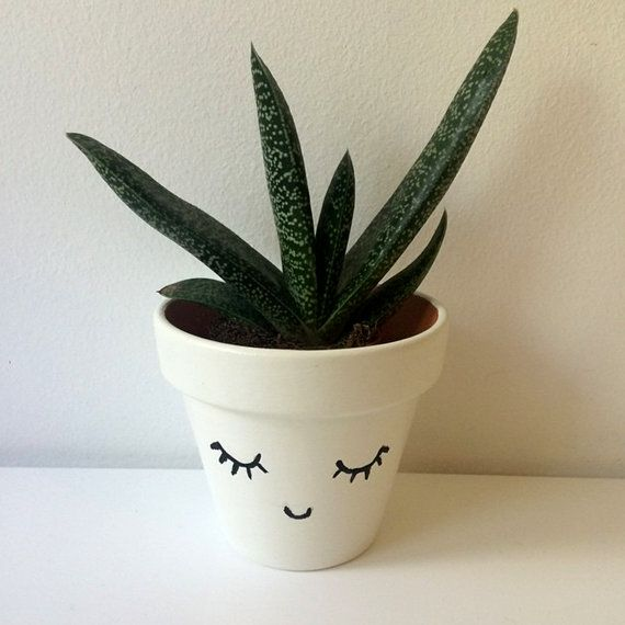 Hand Painted Small Smiley Planter by LeanneLauraMakes on Etsy