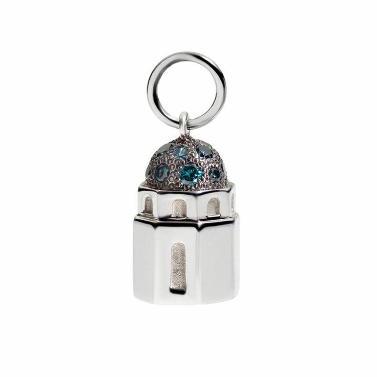 Oro bianco 9k e brillanti blu civita queriot white gold necklace women fashion regalo componibile gift present charms collana diamond blue brilliant shine