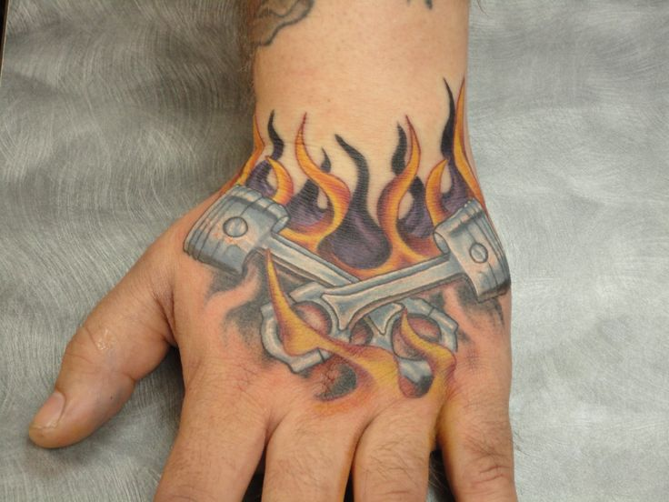 Piston And Wrench Tattoo Designs Hand tattoo pistons and flames