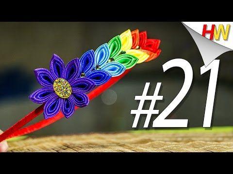 """Kanzashi para iniciantes. """"Rainbow raminho de pétala triplo"""" - YouTube"""