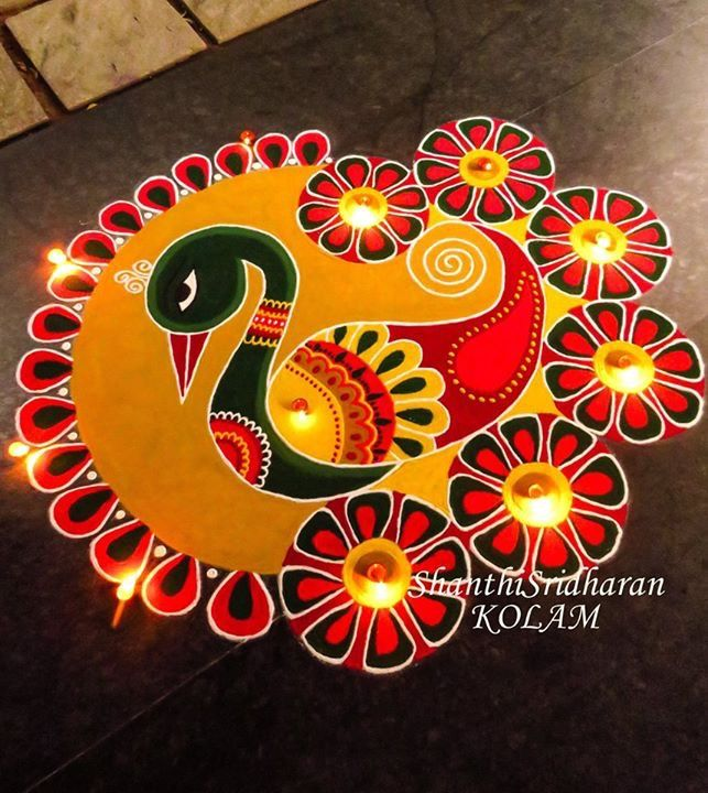 #swan#peacock#yellow#red#green#kolam#mandala