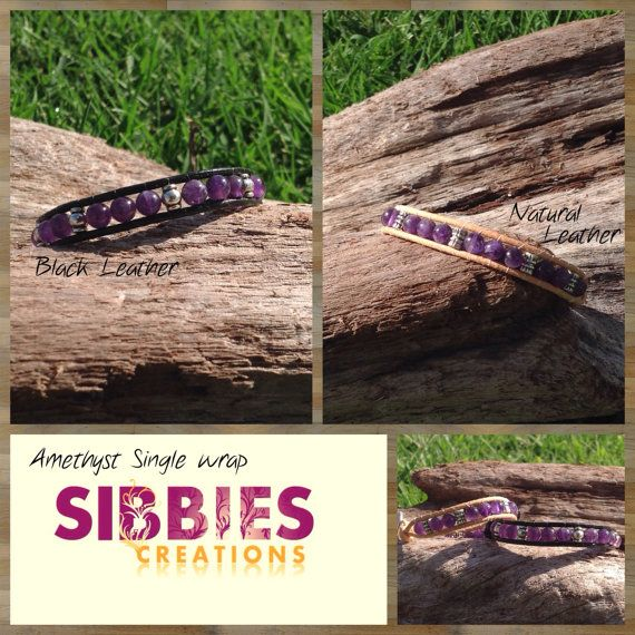 Amethyst single leather wrap with bali beads by SibbiesCreations