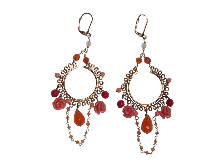 Earrings with corals and stones. Designed and made in Italy by Titti Peggy