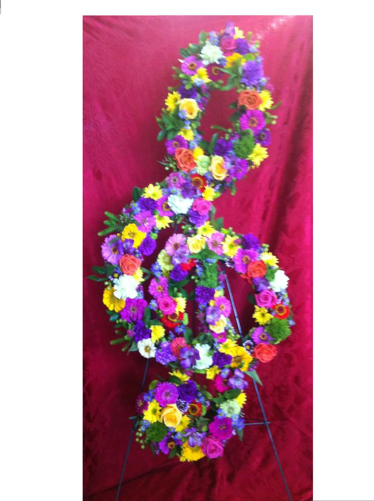 Music Treble Clef Flower Arrangement Sympathy Flowers