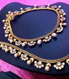 Buy Romantic pearl polki payal with charming little flowers payal anklet sh57w anklet online $23