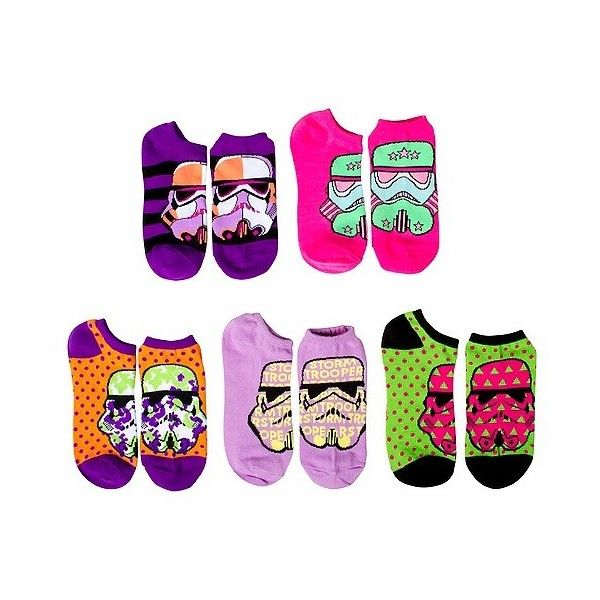 Star Wars Women's 5 Pack No Show Socks - Storm Troopers, Multi-... ($13) ❤ liked on Polyvore featuring intimates, hosiery, socks, colorful socks, multi color socks, multicolor socks and multi colored socks