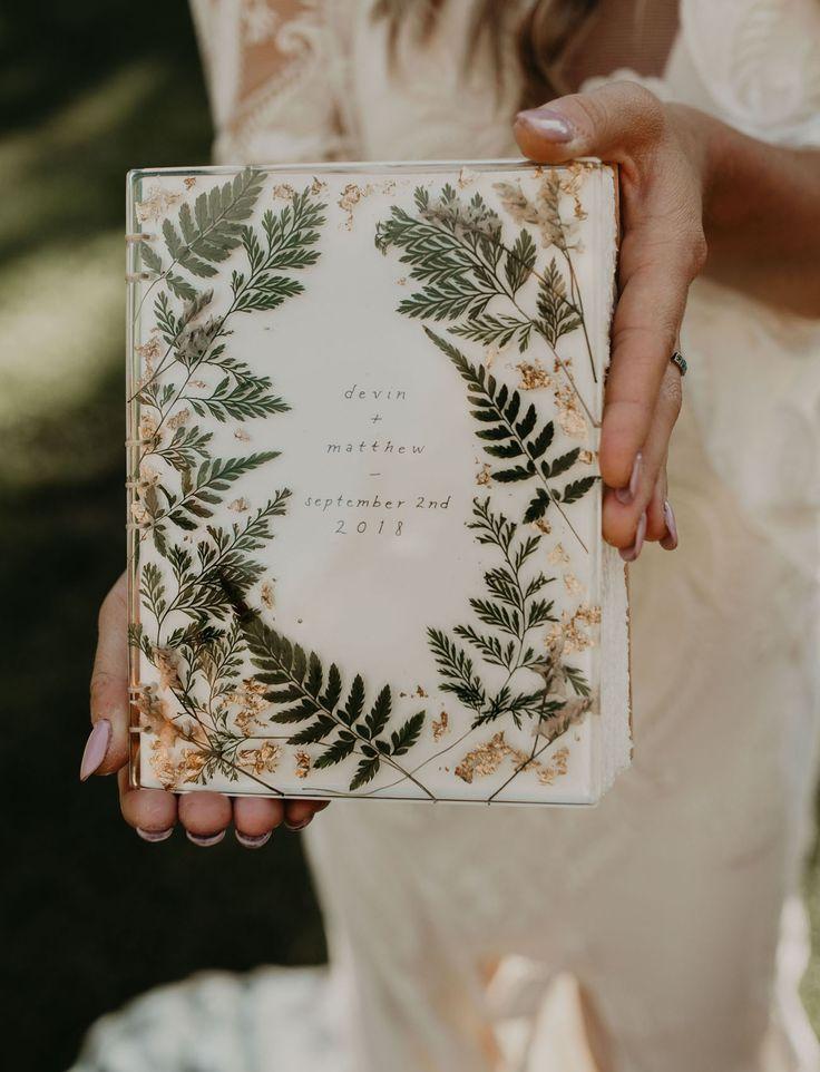 pressed flower guest book wedding detail