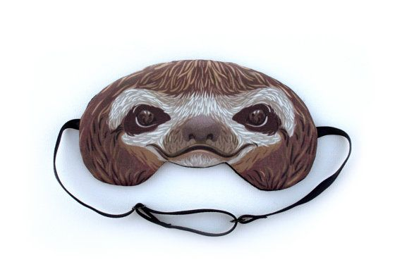 Sloth Sleep Mask by appendageaccessories on Etsy, $26.50; lol should get this for the bf as a joke