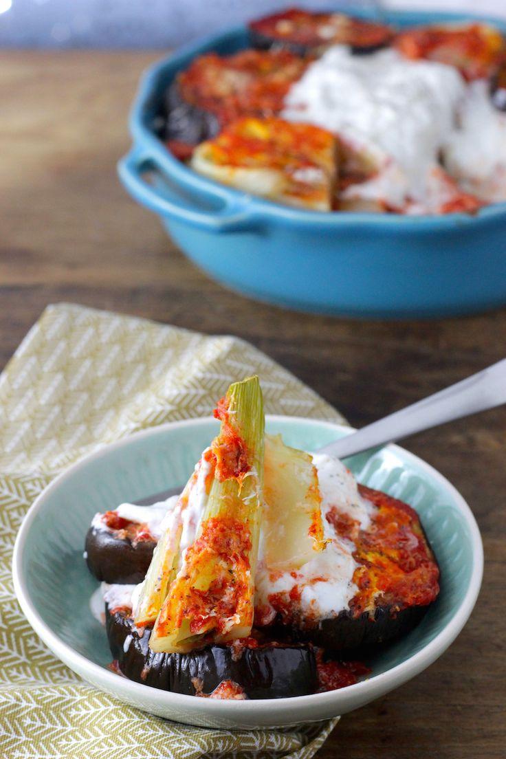 Dit gerecht met geroosterde aubergine, venkel, rode paprika en burrata is een lekker gerecht uit het kookboek Eivissa. Je waant je even op Ibiza, heerlijk!