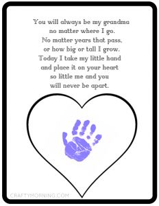 Never Be Apart Grandma Poem Printable