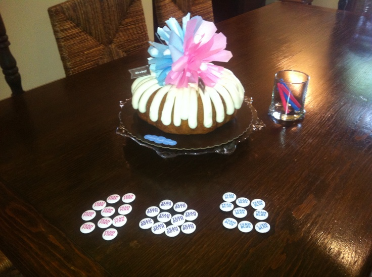 Nothing Bundt cake and gender reveal buttons