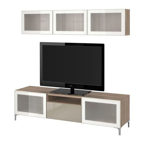 IKEA - BESTÅ, TV storage combination/glass doors, walnut effect light gray/Selsviken high gloss/beige frosted glass, drawer runner, push-open, , The drawers and doors have integrated push-openers, so you don't need handles or knobs and can open them with just a light push.You can control your electronic equipment with the doors closed, as the remote control works through the glass.It's easy to keep the cords from your TV and other devices out of sight but close at hand, as ther...