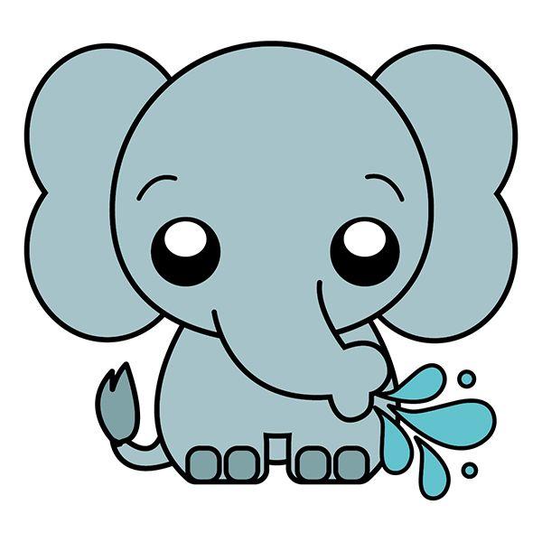 Como Dibujar Un Elefante Kawaii En 2020 Dibujos De Animales