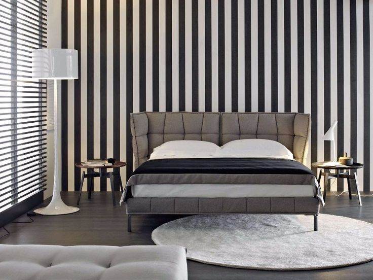 The bedroom designs featuring the Husk bed by BB Italia, the first with a black and white background, in the middle photo with a wood wall and in the bottom in a more rustic setting.Contemporary black white grey master bedroom inspiration ideas modern bedroom design