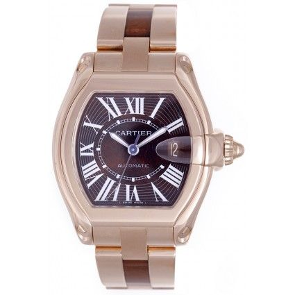 Cartier Roadster 18k Rose Gold Extra Large Men's Watch with Walnut Burl Wood Dial and Bracelet Center Links W6206001 - Automatic winding.