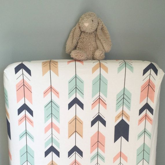 Arrows fitted crib sheet - blush pink mint navy oatmeal - tribal Aztec southwest nursery - toddler sheet - girl baby shower gift on Etsy, $78.01 AUD