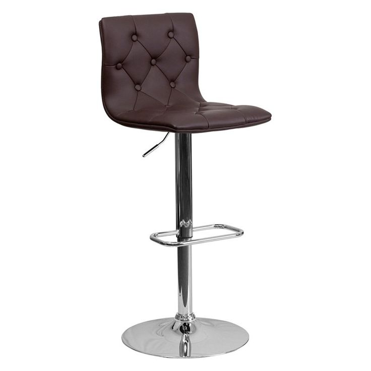 flash furniture button tufted adjustable bar stool with chrome base