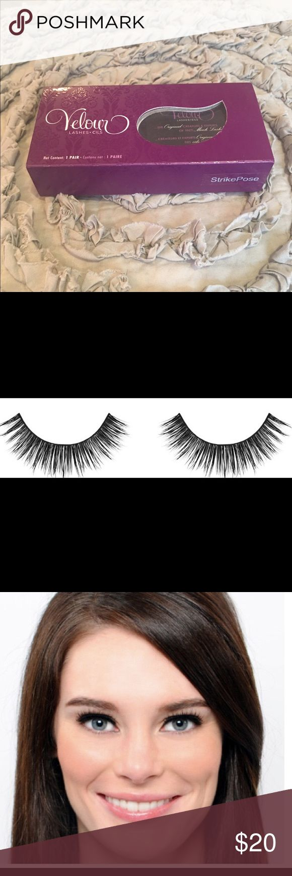 Authentic Velour Mink Lashes in Strike a Pose Are you ready for the spotlight? One of Velour Lash most dramatic pair, evenly distributed across the band designed with an abundance of fur. With its extreme length and thickness, you will be the center of attention.  Velour lashes are cruelty free and can be worn up to 25 times when cared for properly and their shape will never change. I thought I could wear false lashes - I was wrong ❤️. These are brand new in box never touched. Velour Lashes…