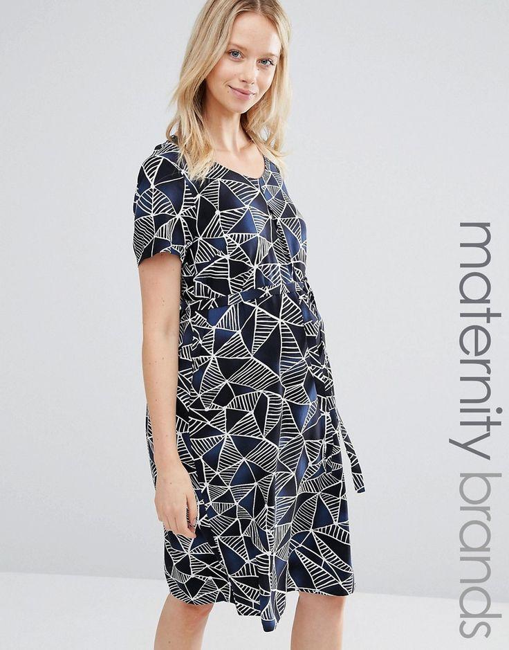 Image 1 ofMamalicious Graphic Print Shift Dress