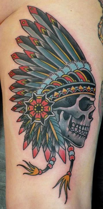 Native Skull Tattoo By Phatt German. Love the lines and coloring.