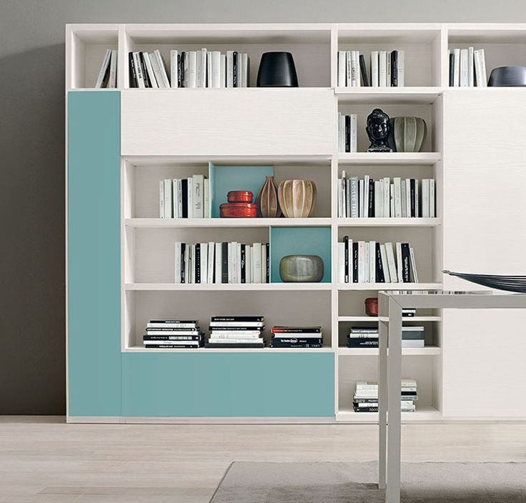 Carrara Bookcase For Wall Unit With Clean Lines Exemplifies Exceptional Italian