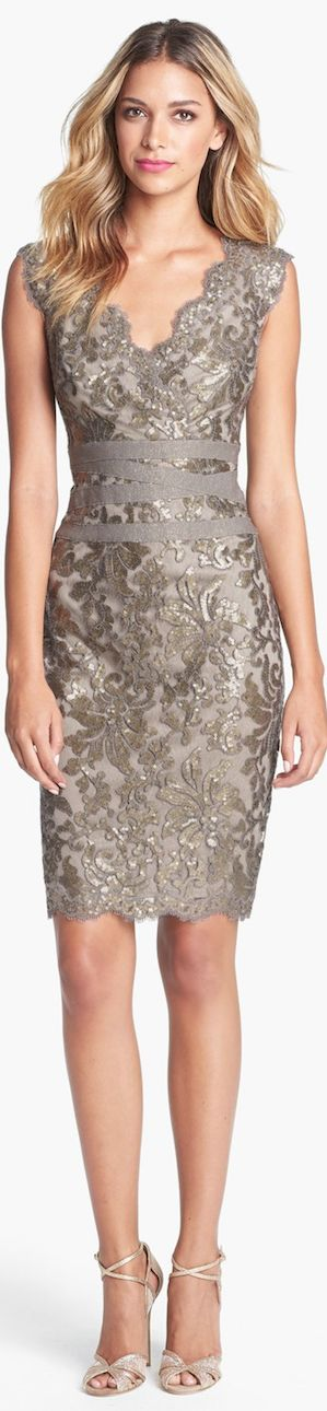 Tadashi Shoji Embellished Metallic Lace Sheath Dress LBV