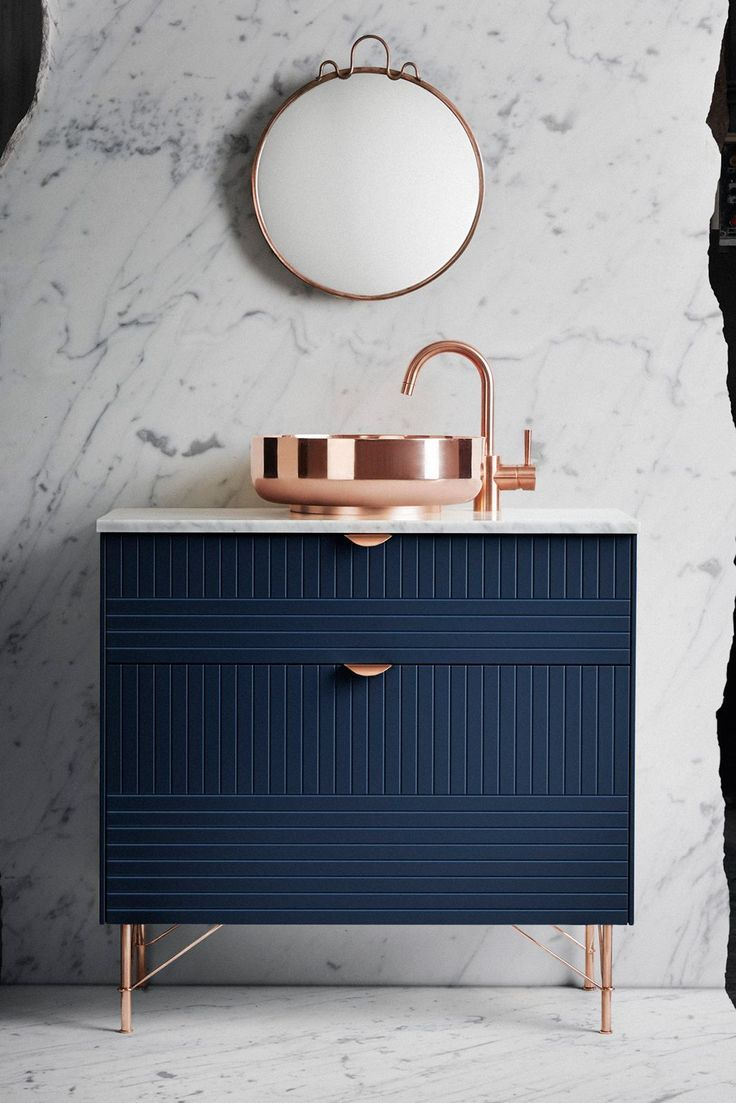 Lazy Ways To Make Your Ikea Furniture Look Expensive #refinery29 www.refinery29.uk...  Hack #2: Bathroom CabinetIkea Metod base cabinet, white, £49+Front: METOD 80x20, Parallels, Infinity Blue, £48<a
