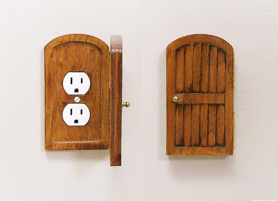 Wooden Rustic Decorative Hobbit Fairy Door Outlet Switchplate Cover Novelty Home Hidden Door Home Decor Unique Gift on Etsy, $41.50