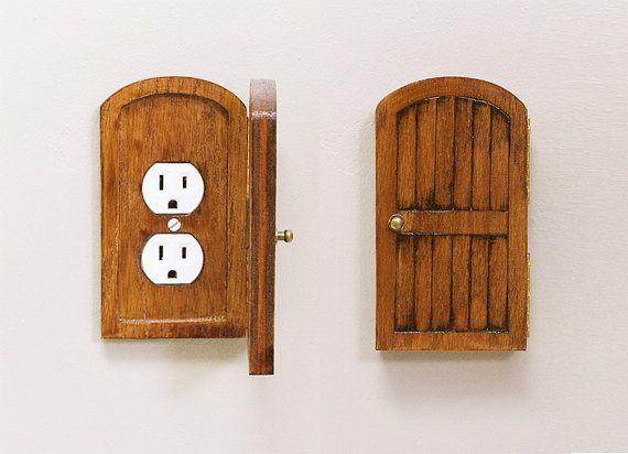 Wooden Rustic Decorative Hobbit Fairy Door Outlet Switchplate Cover Novelty Home Hidden Door Home Decor Unique Gift on Etsy, $41.50