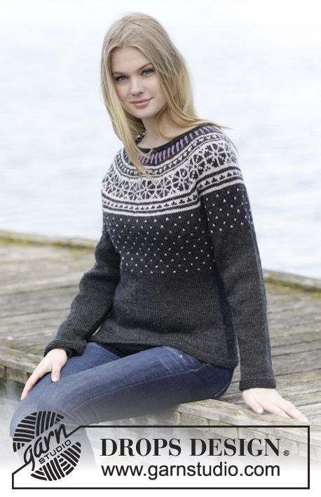 "#DROPSDesign jumper with round yoke and #Nordic pattern, worked top down in ""Karisma"". #knitting"