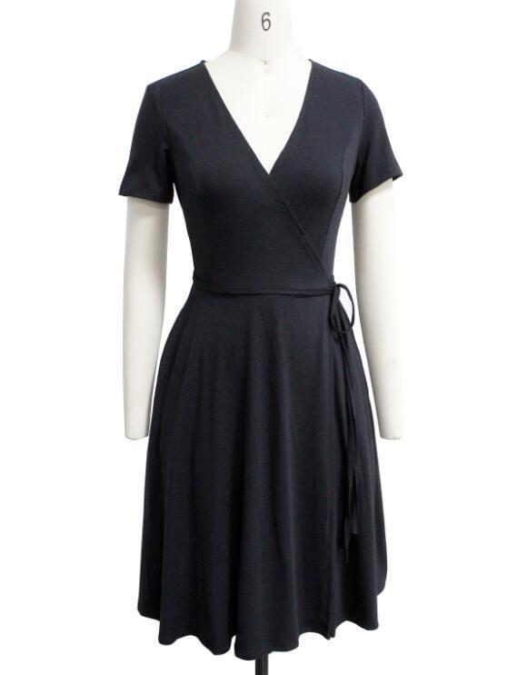 1583df258e4 Berydress A-line Floral Dress Vintage Print Floral Women s Dresses 2018 50s  Summer Deep V Neck Short Sleeve Black Dress Pockets