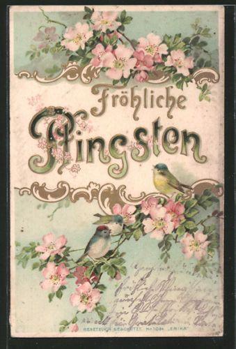 tolle Präge-AK Blumen und Vögel, Pfingsten | eBay