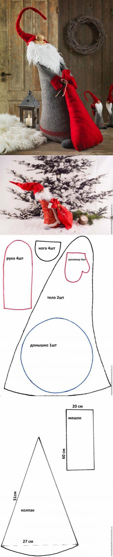 Санта Клаус,Дед Мороз или Гном? Мастер класс.Выкройка