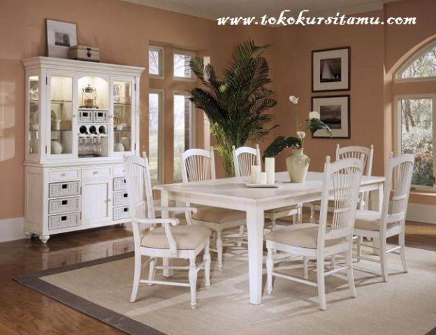 Set Meja Makan Duco Putih SMK-008, meja makan, meja makan jepara, meja makan murah, meja makan jepara