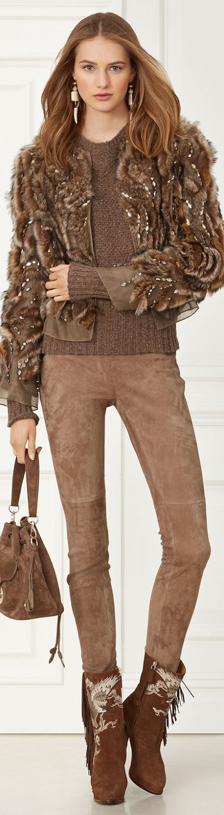 RALPH LAUREN CARMEN SHEARLING-TRIM JACKET Fall 2015