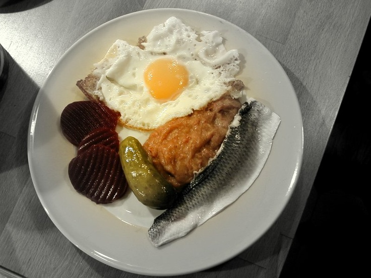 #Labskaus with fried egg, beetroot, pickled gherkin and herring   #Traditional-Food in #Hamburg