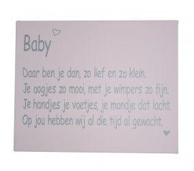 Canvaslijst Baby Gedichtje Roze